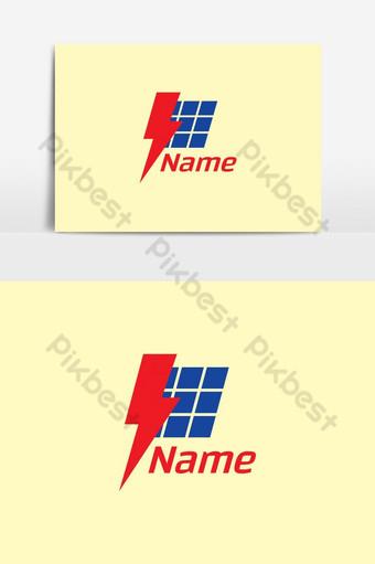 elemento gráfico de plantilla de diseño de logotipo de panel solar de energía renovable Elementos graficos Modelo AI