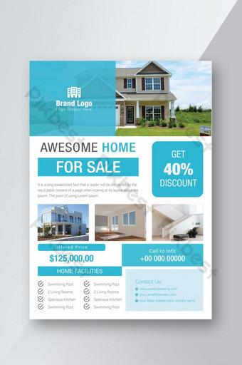 Flyer d'impression immobilière de couleur bleu clair Modèle AI