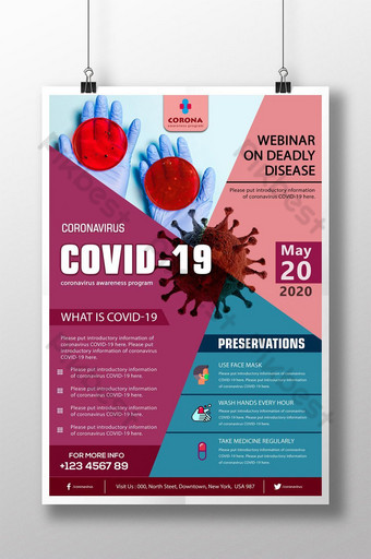 Szablon plakatu PSD seminarium internetowego COVID 19 Szablon PSD