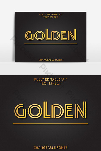 efecto de texto de lujo de ai editable dorado Elementos graficos Modelo AI