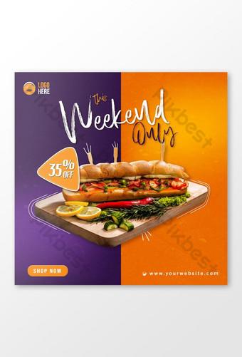 Flyer bannière carrée ou publication Instagram pour restauration rapide avec photo sandwich Modèle AI