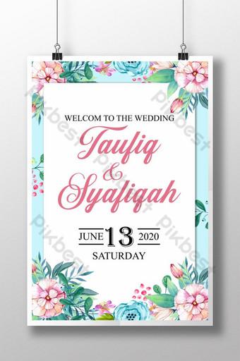 ملصق زفاف زهرة مائية زفاف ملصق زفاف سعيد قالب PSD