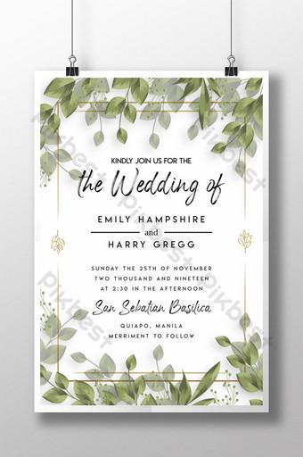 ملصق زفاف بسيط ورقة زفاف ملصق زفاف سعيد قالب PSD