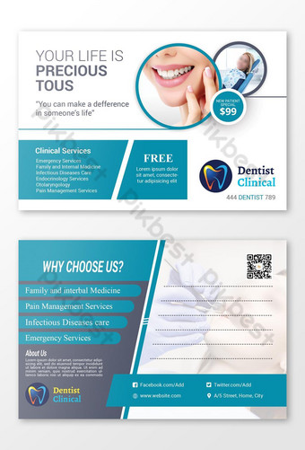 Conception de carte postale clinique de dentiste Photoshop Modèle PSD