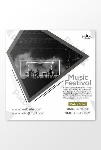 Conception de bannière de médias sociaux de festival de musique Modèle PSD