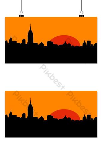 puesta de sol en la ciudad fondo de pantalla Fondos Modelo PSD
