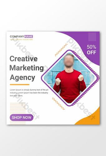Dépliant de marketing créatif ou conception de publication sur les médias sociaux Modèle PSD