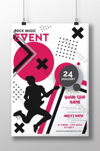 cartel de concierto de evento de música rock Modelo AI