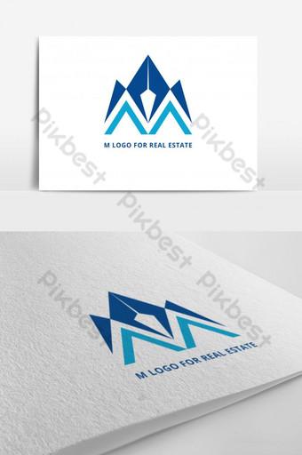m logo para propiedad archivo de vector de fuente de negocio Modelo AI