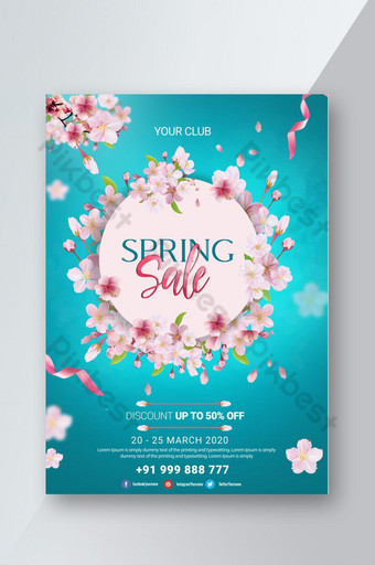 folleto de psd de venta de primavera de tema azul fresco Modelo PSD