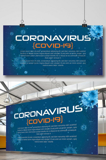 Stylowy Coronavirus Covid 19 Ilustracje wektorowe na niebieskim tle banner Szablon Ai Szablon AI