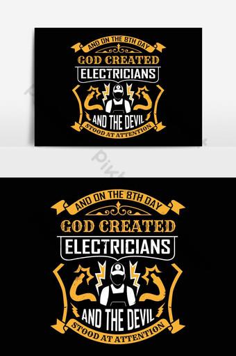 electricista, camisetas, diseño, vector, gráfico, tipográfico, cartel, o, camiseta Elementos graficos Modelo EPS