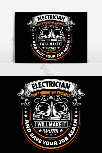 electricista diseño de camiseta diseño de camisetas gráfico de vector cartel tipográfico o camiseta Elementos graficos Modelo EPS
