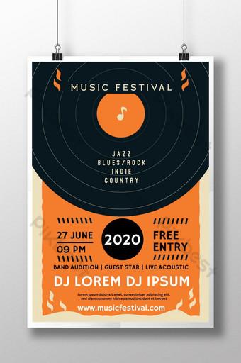 Affiche du festival de musique d'été classique Modèle AI