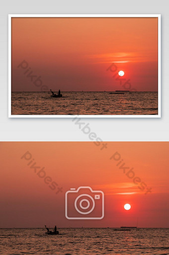 Sunset and Sea Landscape Photo Template JPG