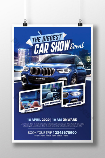 plantilla de psd de evento de coche de tema azul Modelo PSD