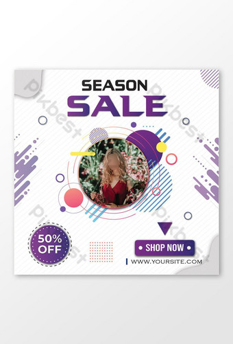 season sale banner clothing center facebook post template Template AI