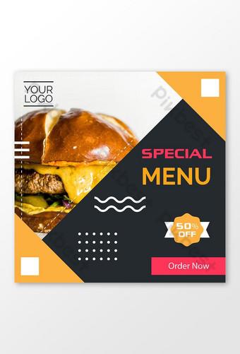 menu spécial offre alimentaire médias sociaux instagram facebook post Modèle AI