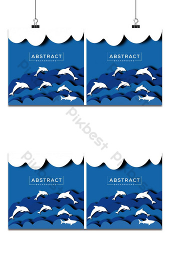 Cartoon sea wave & dolphin abstract hand-drawn paper cut background Backgrounds Template AI
