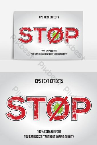 hentikan pesan desain grafis pencegahan virus corona dengan teks dan ikon virus Elemen Grafis Templat AI