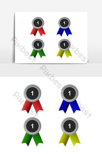 icono de medalla ilustrado en vector sobre fondo blanco Elementos graficos Modelo EPS
