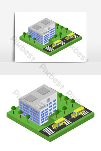 escuela isométrica ilustrada en vector sobre fondo blanco Elementos graficos Modelo EPS