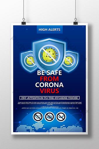 Szablon nowoczesny plakat medyczny ochrony przed wirusem koronowym Szablon PSD