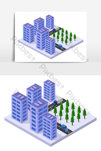 rascacielos isométrico ilustrado en vector sobre fondo blanco Elementos graficos Modelo EPS