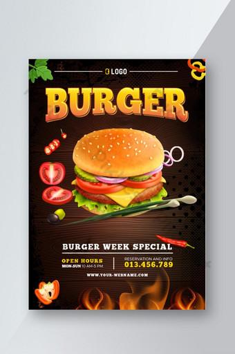 Burger Fast-Food flyer template vector design modèle de mise en page au format A4 Modèle EPS