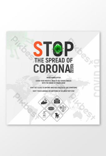 stop corona covid 19 modelo de banner de vírus Modelo AI