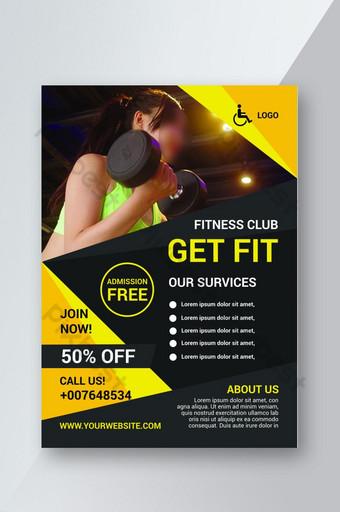 Dépliant de promotion des entreprises de fitness gym Modèle PSD