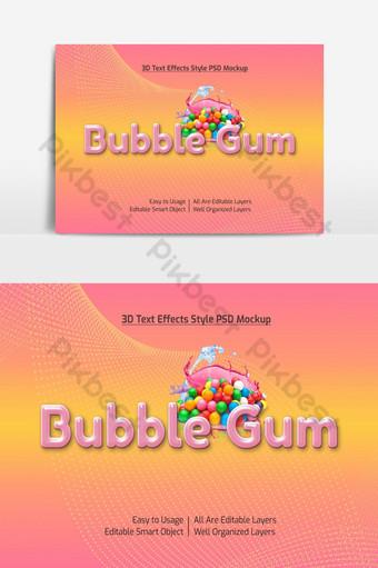 chicle 3d texto fresco estilo de fuente maqueta de efecto psd premium Elementos graficos Modelo PSD