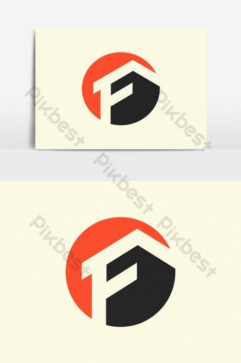 الحد الأدنى من شعار العقارات المستدير مع الحرف f صور PNG قالب AI