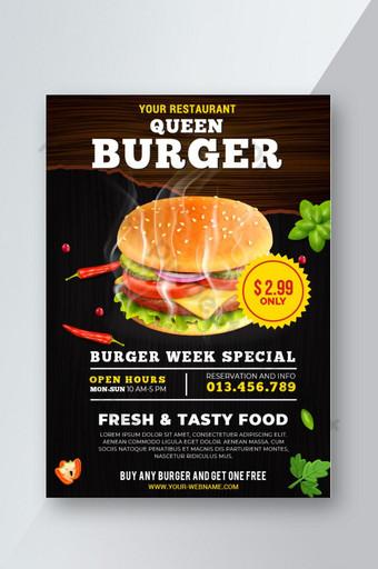 Conception de modèle de flyer Queen Burger avec image vectorielle Modèle EPS