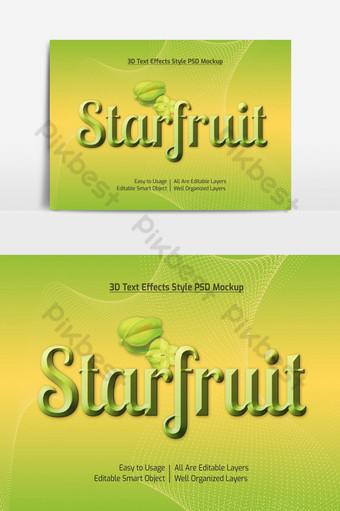 maqueta de efecto de estilo de fuente de texto fresco de carambola 3d psd premium Elementos graficos Modelo PSD