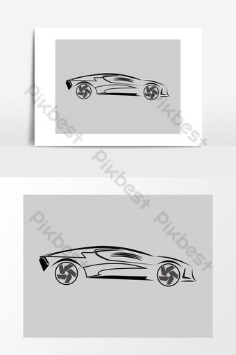 coche vector logo elementos dibujados a mano Elementos graficos Modelo AI