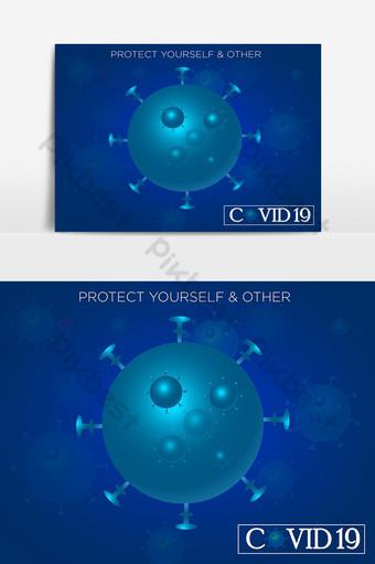 帶有背景設計的covid 19日冕病毒 元素 模板 AI
