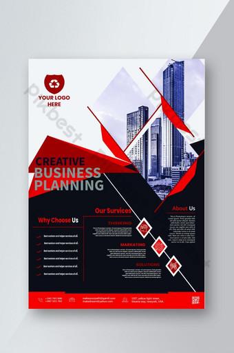 Dépliant d'entreprise à motifs de couleur bleu foncé et rouge classique unique Modèle PSD