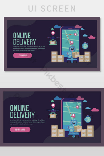 Online delivery service concept landing page with robot and drone. UI Template AI
