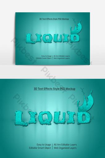 maqueta de efecto de estilo de fuente de texto fresco 3d líquido psd premium Elementos graficos Modelo PSD