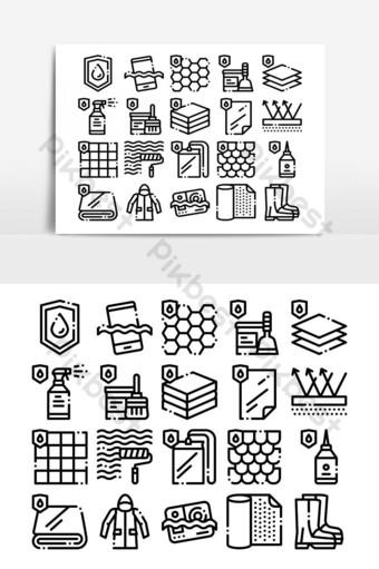 impermeable s vector conjunto de iconos de línea delgada Elementos graficos Modelo AI