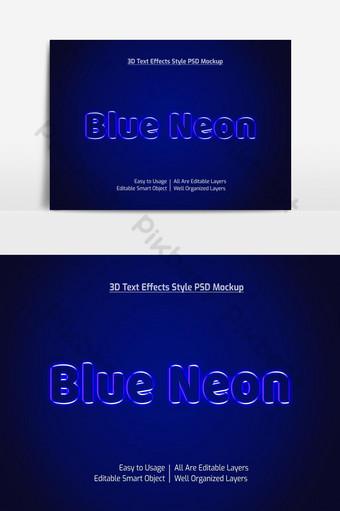 neón azul 3d texto fresco estilo de fuente maqueta de efecto psd premium Elementos graficos Modelo PSD