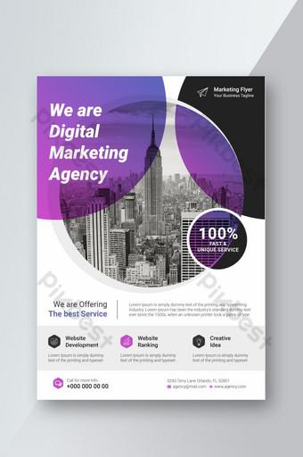 قالب ملصق نشرة إعلانية للشركات مع تخطيط تصميم غلاف كتيب متدرج اللون قالب PSD