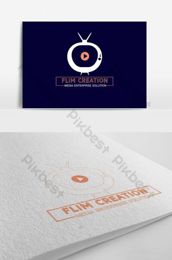 flim creation creative orange media logo Modelo PSD