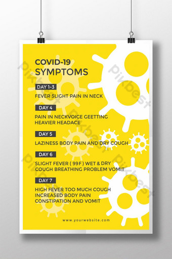 Cartel de síntomas de corona con plantilla de diseño de fondo amarillo Modelo EPS