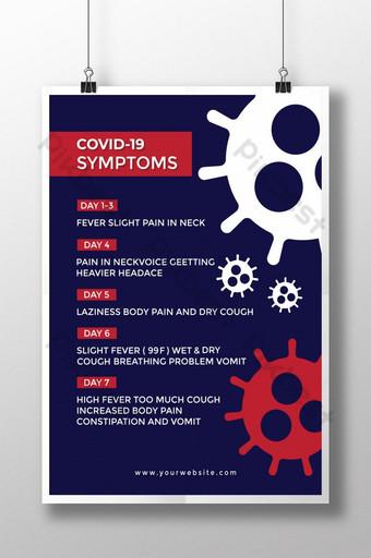 Covid 19 Szablon projektu plakatu dotyczącego objawów wirusa Corona 2020 Szablon EPS