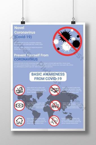 Nowy plakat dotyczący świadomości koronawirusa Covid 19 Szablon AI