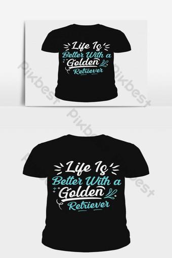 a vida é melhor com um golden retriever amor, cão de estimação, tipografia, design de camiseta Elementos gráficos Modelo AI