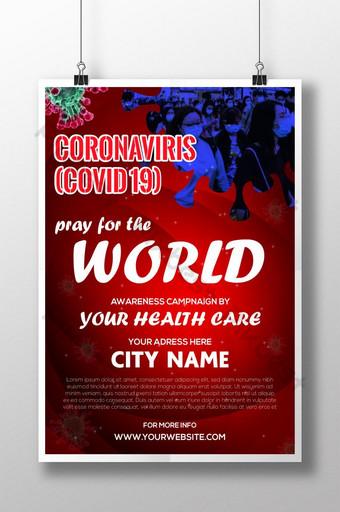 CORONAVIRUS COVID 19 czerwony szablon plakatu AI Szablon AI
