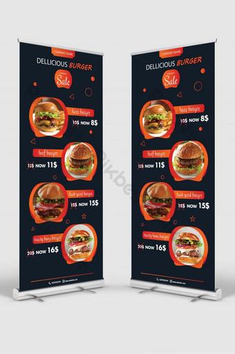 template spanduk menggulung burger yang lezat Templat AI